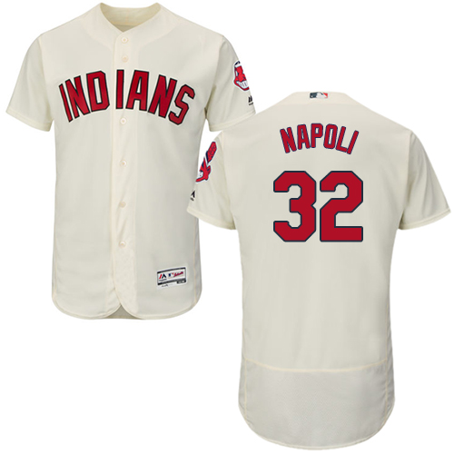 Men's Majestic Cleveland Indians #32 Mike Napoli Cream Alternate Flex Base Authentic Collection MLB Jersey