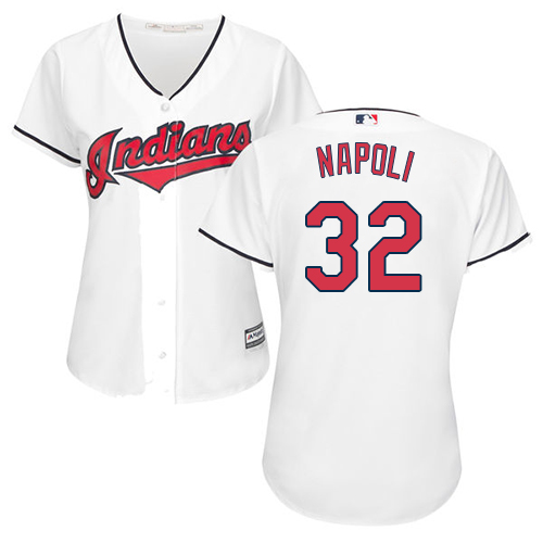 Women's Majestic Cleveland Indians #32 Mike Napoli Replica White Home Cool Base MLB Jersey