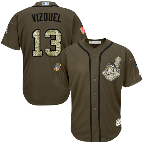 Men's Majestic Cleveland Indians #13 Omar Vizquel Authentic Green Salute to Service MLB Jersey