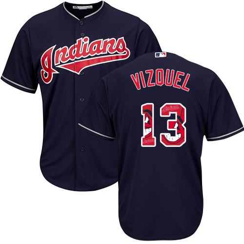 Men's Majestic Cleveland Indians #13 Omar Vizquel Authentic Navy Blue Team Logo Fashion Cool Base MLB Jersey