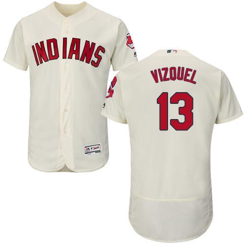 Men's Majestic Cleveland Indians #13 Omar Vizquel Cream Alternate Flex Base Authentic Collection MLB Jersey
