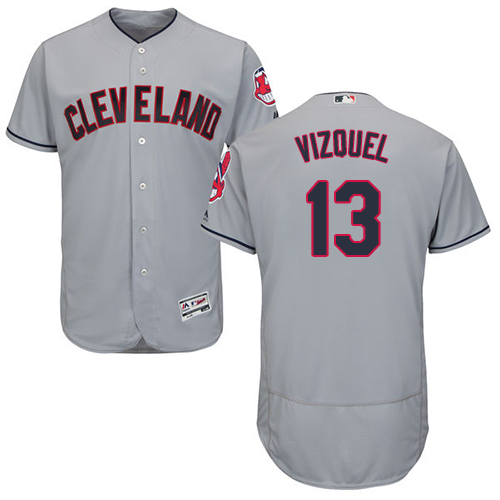 Men's Majestic Cleveland Indians #13 Omar Vizquel Grey Road Flex Base Authentic Collection MLB Jersey