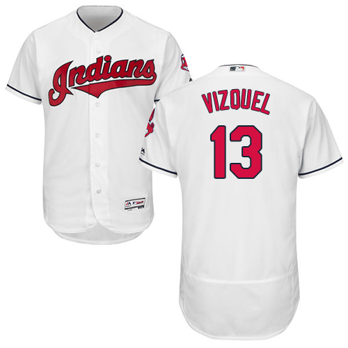 Men's Majestic Cleveland Indians #13 Omar Vizquel White Home Flex Base Authentic Collection MLB Jersey