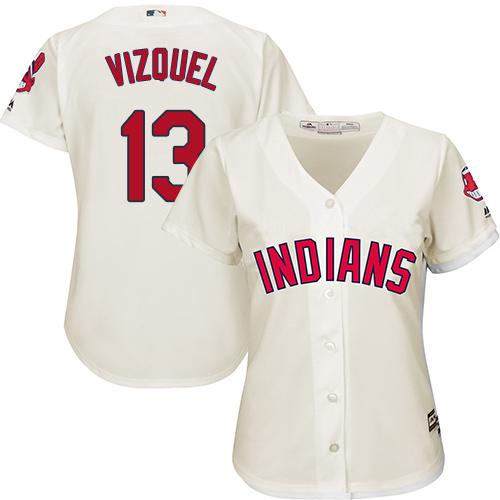 Women's Majestic Cleveland Indians #13 Omar Vizquel Authentic Cream Alternate 2 Cool Base MLB Jersey