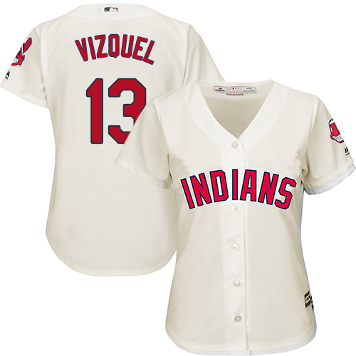 Women's Majestic Cleveland Indians #13 Omar Vizquel Replica Cream Alternate 2 Cool Base MLB Jersey