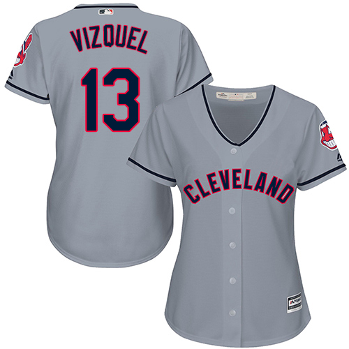 Women's Majestic Cleveland Indians #13 Omar Vizquel Replica Grey Road Cool Base MLB Jersey