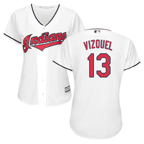 Women's Majestic Cleveland Indians #13 Omar Vizquel Replica White Home Cool Base MLB Jersey