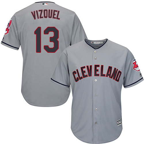 Youth Majestic Cleveland Indians #13 Omar Vizquel Authentic Grey Road Cool Base MLB Jersey