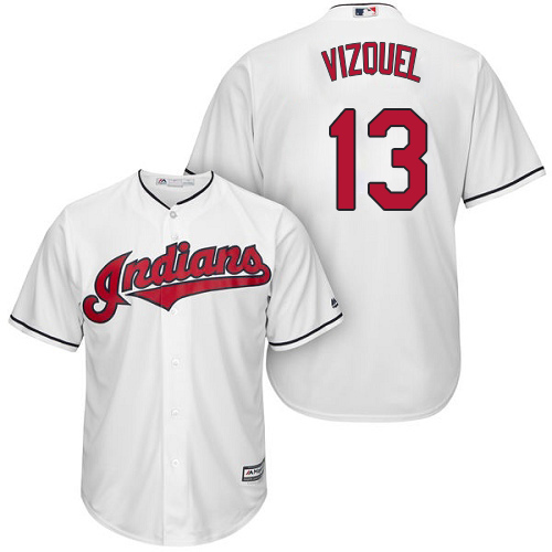 Youth Majestic Cleveland Indians #13 Omar Vizquel Authentic White Home Cool Base MLB Jersey