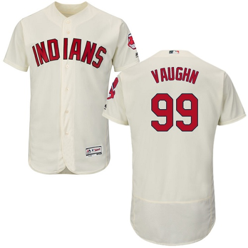 Men's Majestic Cleveland Indians #99 Ricky Vaughn Cream Alternate Flex Base Authentic Collection MLB Jersey