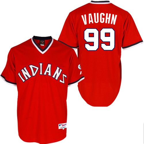 Men's Majestic Cleveland Indians #99 Ricky Vaughn Replica Red 1974 Turn Back The Clock MLB Jersey