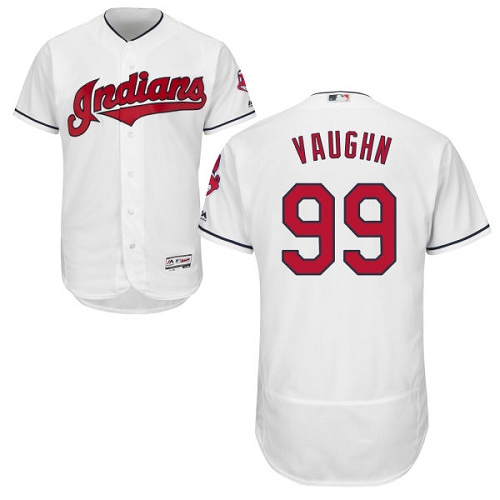 Men's Majestic Cleveland Indians #99 Ricky Vaughn White Home Flex Base Authentic Collection MLB Jersey
