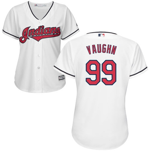 Women's Majestic Cleveland Indians #99 Ricky Vaughn Replica White Home Cool Base MLB Jersey