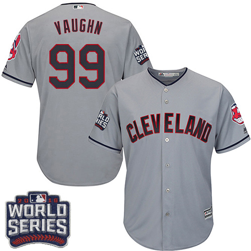 Youth Majestic Cleveland Indians #99 Ricky Vaughn Authentic Grey Road 2016 World Series Bound Cool Base MLB Jersey