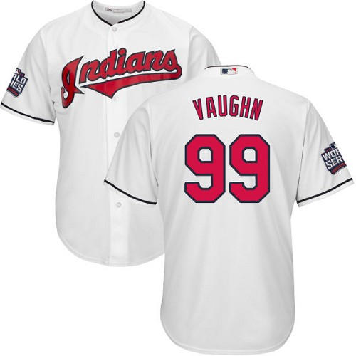 Youth Majestic Cleveland Indians #99 Ricky Vaughn Authentic White Home 2016 World Series Bound Cool Base MLB Jersey