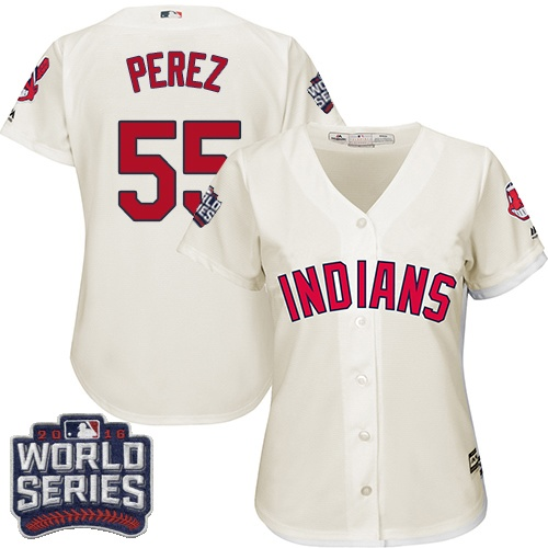 Women's Majestic Cleveland Indians #55 Roberto Perez Authentic Cream Alternate 2 2016 World Series Bound Cool Base MLB Jersey