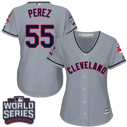 Women's Majestic Cleveland Indians #55 Roberto Perez Authentic Grey Road 2016 World Series Bound Cool Base MLB Jersey