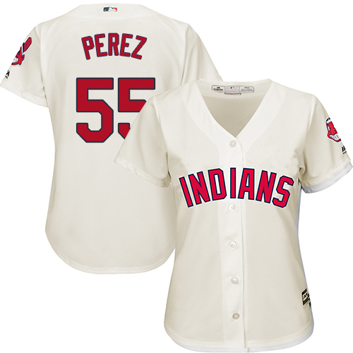 Women's Majestic Cleveland Indians #55 Roberto Perez Replica Cream Alternate 2 Cool Base MLB Jersey