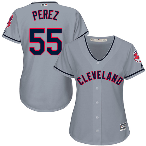 Women's Majestic Cleveland Indians #55 Roberto Perez Replica Grey Road Cool Base MLB Jersey