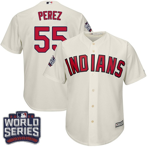 Youth Majestic Cleveland Indians #55 Roberto Perez Authentic Cream Alternate 2 2016 World Series Bound Cool Base MLB Jersey