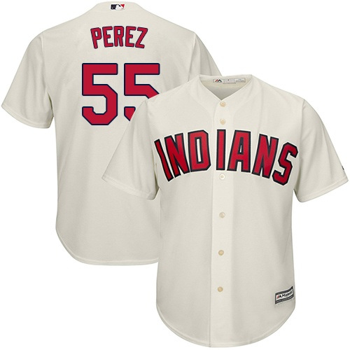 Youth Majestic Cleveland Indians #55 Roberto Perez Authentic Cream Alternate 2 Cool Base MLB Jersey