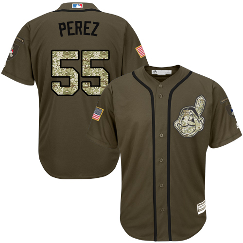 Youth Majestic Cleveland Indians #55 Roberto Perez Authentic Green Salute to Service MLB Jersey