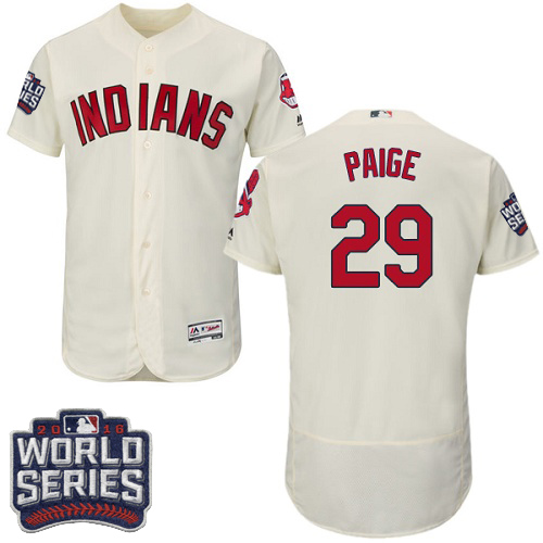 Men's Majestic Cleveland Indians #29 Satchel Paige Cream 2016 World Series Bound Flexbase Authentic Collection MLB Jersey