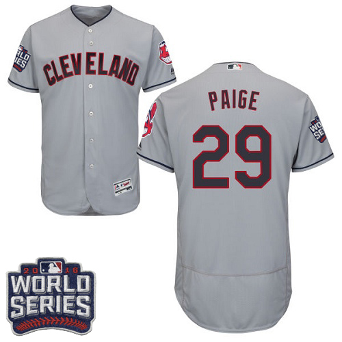 Men's Majestic Cleveland Indians #29 Satchel Paige Grey 2016 World Series Bound Flexbase Authentic Collection MLB Jersey
