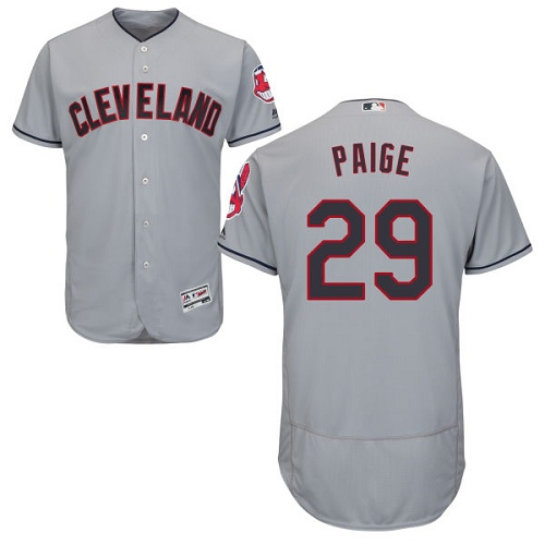 Men's Majestic Cleveland Indians #29 Satchel Paige Grey Road Flex Base Authentic Collection MLB Jersey