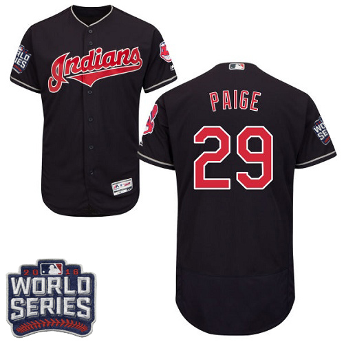 Men's Majestic Cleveland Indians #29 Satchel Paige Navy Blue 2016 World Series Bound Flexbase Authentic Collection MLB Jersey