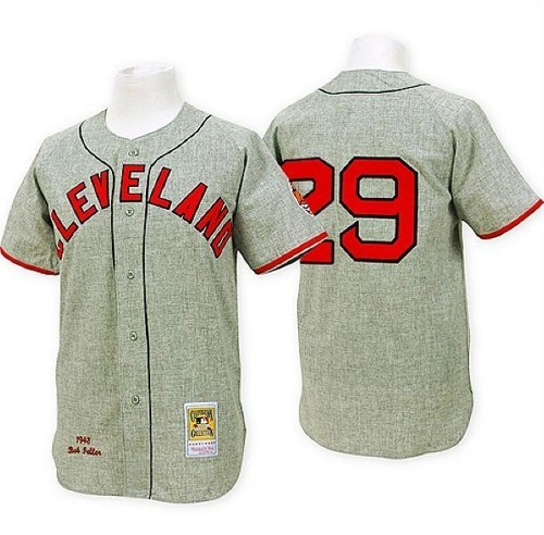 Men's Mitchell and Ness 1948 Cleveland Indians #29 Satchel Paige Replica Grey Throwback MLB Jersey