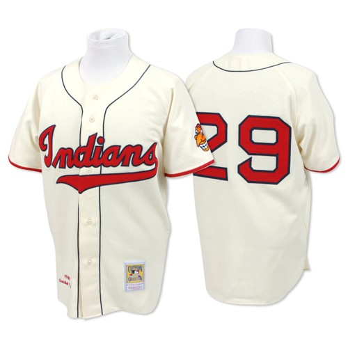 Men's Mitchell and Ness Cleveland Indians #29 Satchel Paige Replica Cream Throwback MLB Jersey