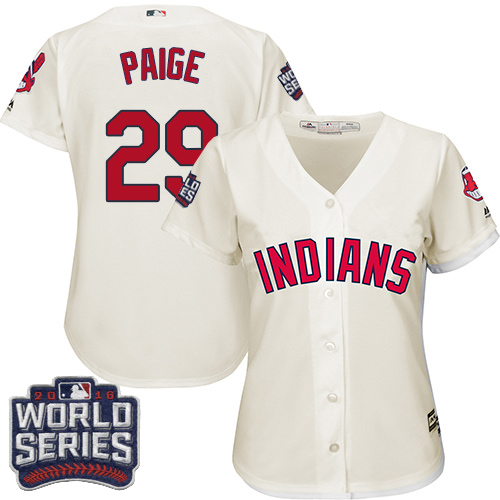 Women's Majestic Cleveland Indians #29 Satchel Paige Authentic Cream Alternate 2 2016 World Series Bound Cool Base MLB Jersey