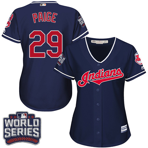 Women's Majestic Cleveland Indians #29 Satchel Paige Authentic Navy Blue Alternate 1 2016 World Series Bound Cool Base MLB Jersey