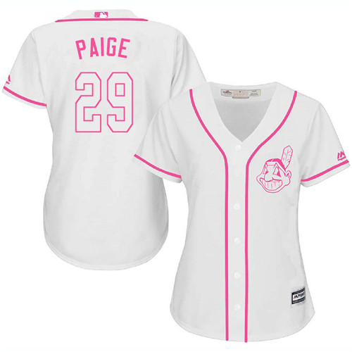 Women's Majestic Cleveland Indians #29 Satchel Paige Authentic White Fashion Cool Base MLB Jersey