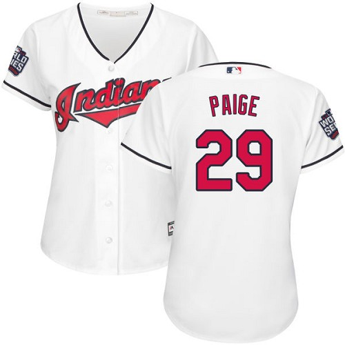 Women's Majestic Cleveland Indians #29 Satchel Paige Authentic White Home 2016 World Series Bound Cool Base MLB Jersey