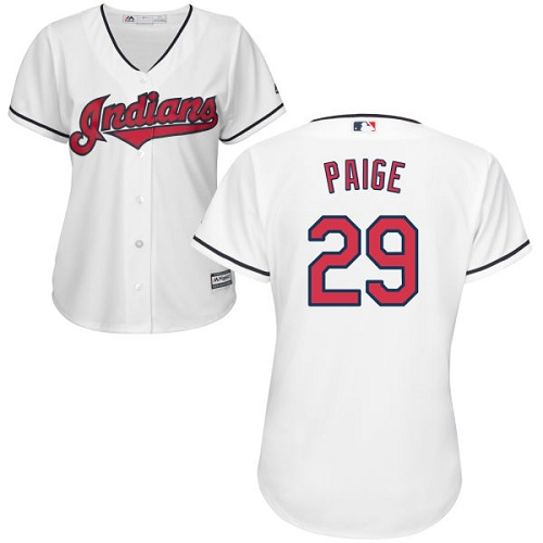 Women's Majestic Cleveland Indians #29 Satchel Paige Authentic White Home Cool Base MLB Jersey