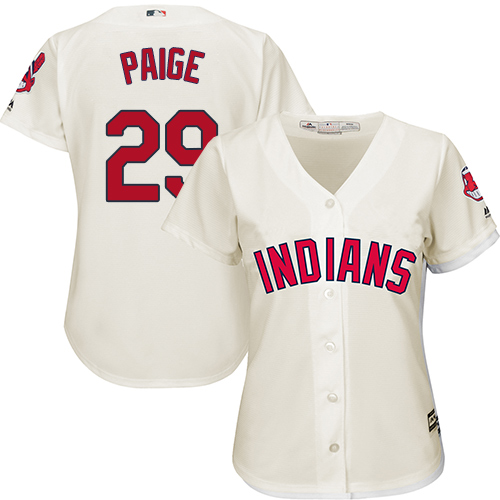 Women's Majestic Cleveland Indians #29 Satchel Paige Replica Cream Alternate 2 Cool Base MLB Jersey