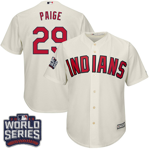 Youth Majestic Cleveland Indians #29 Satchel Paige Authentic Cream Alternate 2 2016 World Series Bound Cool Base MLB Jersey