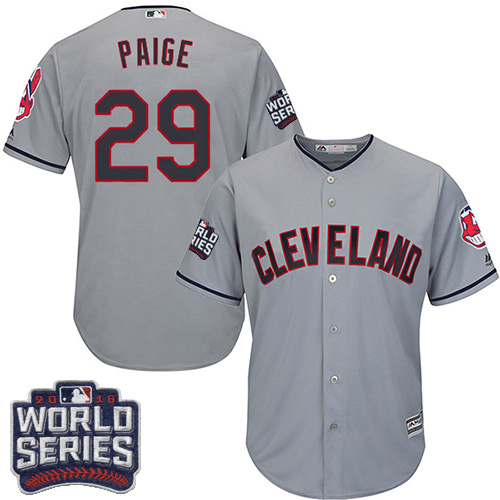 Youth Majestic Cleveland Indians #29 Satchel Paige Authentic Grey Road 2016 World Series Bound Cool Base MLB Jersey