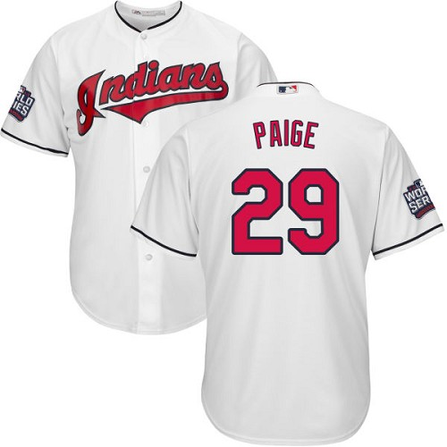Youth Majestic Cleveland Indians #29 Satchel Paige Authentic White Home 2016 World Series Bound Cool Base MLB Jersey