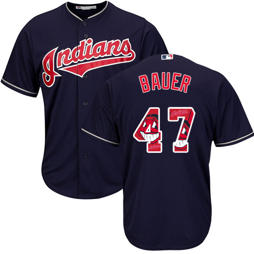 Men's Majestic Cleveland Indians #47 Trevor Bauer Authentic Navy Blue Team Logo Fashion Cool Base MLB Jersey