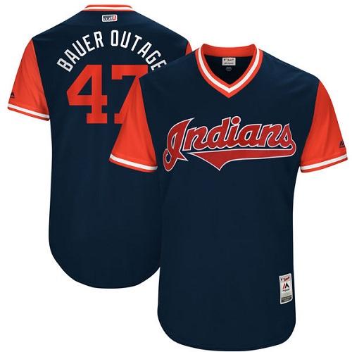 Men's Majestic Cleveland Indians #47 Trevor Bauer