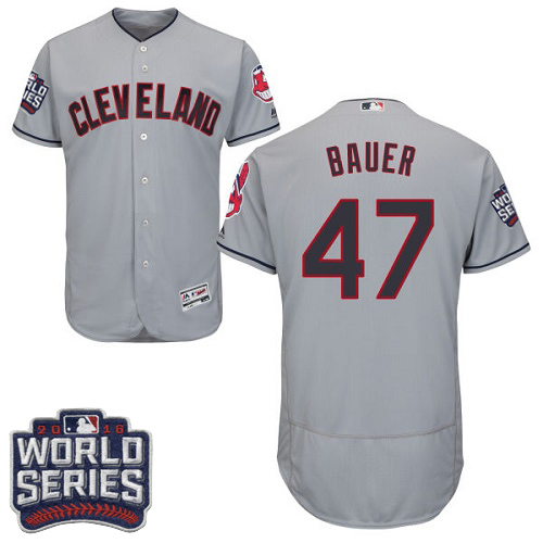 Men's Majestic Cleveland Indians #47 Trevor Bauer Grey 2016 World Series Bound Flexbase Authentic Collection MLB Jersey