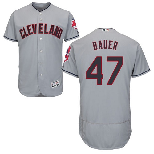 Men's Majestic Cleveland Indians #47 Trevor Bauer Grey Road Flex Base Authentic Collection MLB Jersey