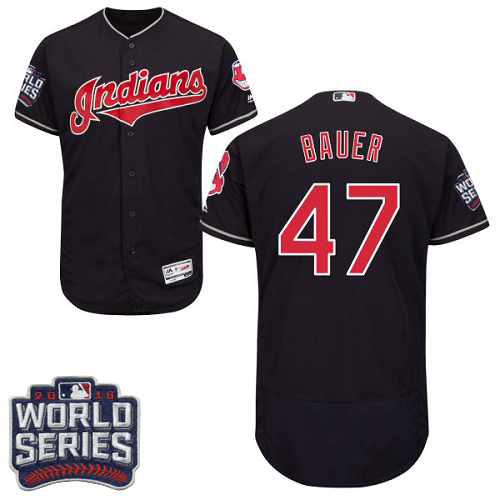 Men's Majestic Cleveland Indians #47 Trevor Bauer Navy Blue 2016 World Series Bound Flexbase Authentic Collection MLB Jersey