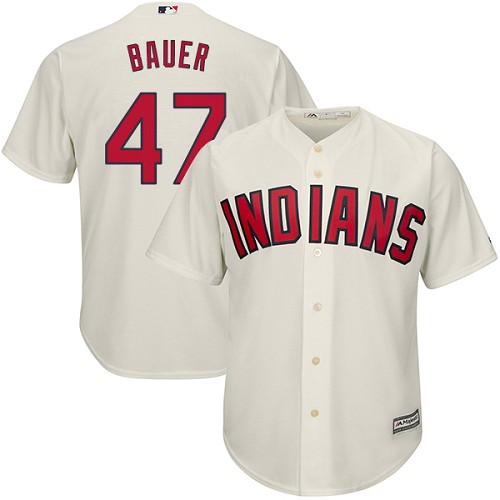 Men's Majestic Cleveland Indians #47 Trevor Bauer Replica Cream Alternate 2 Cool Base MLB Jersey