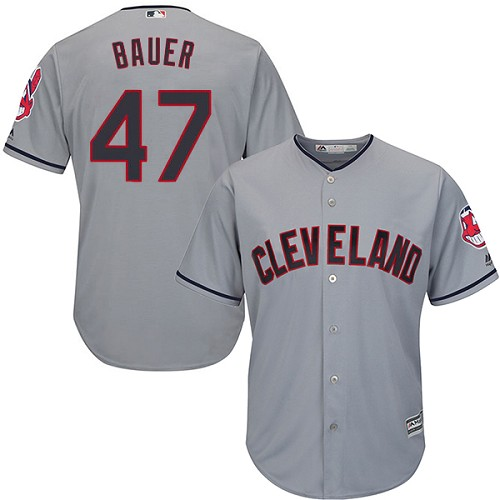 Men's Majestic Cleveland Indians #47 Trevor Bauer Replica Grey Road Cool Base MLB Jersey