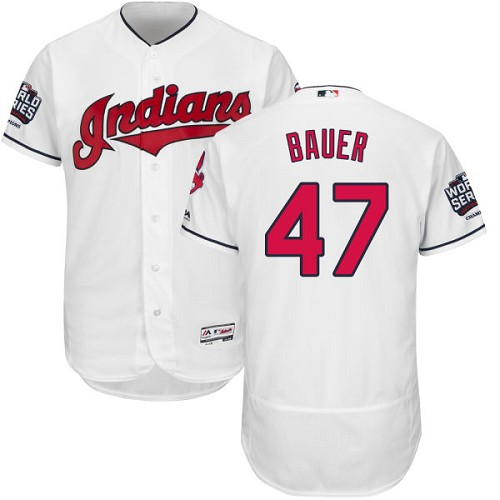 Men's Majestic Cleveland Indians #47 Trevor Bauer White 2016 World Series Bound Flexbase Authentic Collection MLB Jersey
