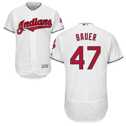 Men's Majestic Cleveland Indians #47 Trevor Bauer White Home Flex Base Authentic Collection MLB Jersey